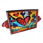 Bandeja Love - Romero Britto - em Cerâmica - 45x23 cm