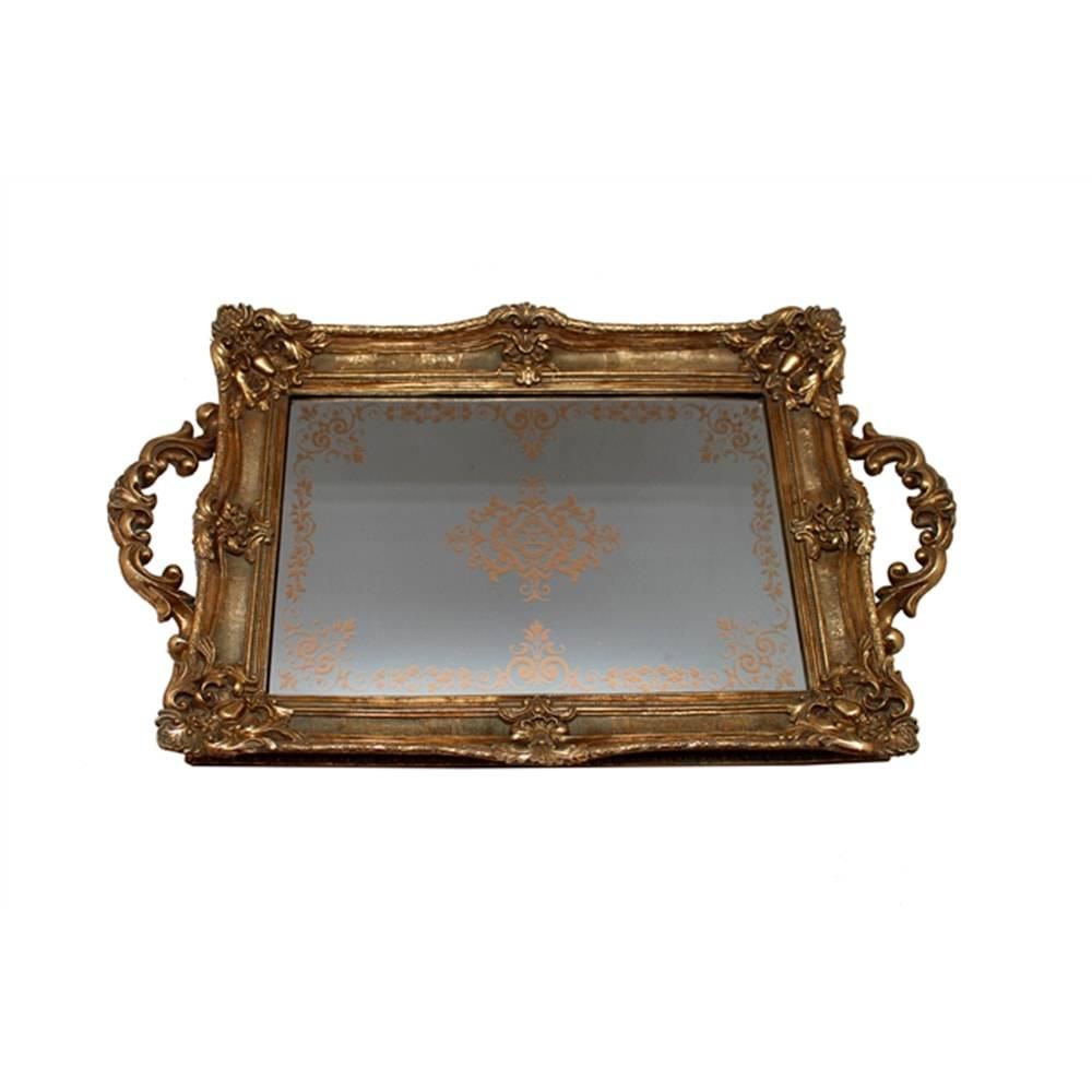 Bandeja Luxo Arabescos Grande Dourada em Resina c/ Base Espelhada - 45x27 cm