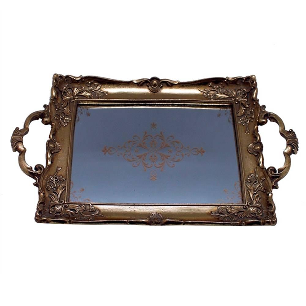 Bandeja Luxo Classic Dourada c/ Alça em Resina - 33x20 cm
