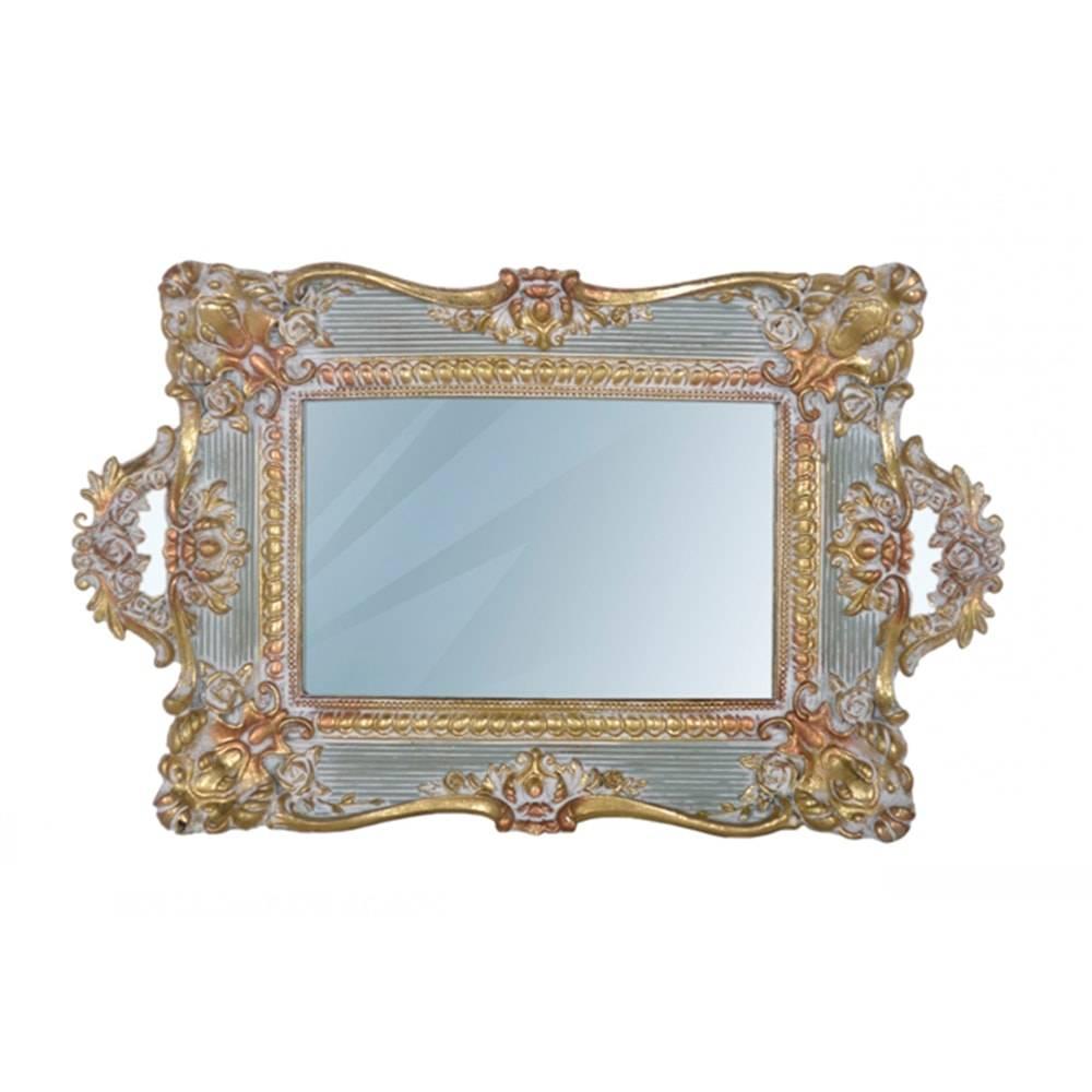 Bandeja Luxo Classic Dourada e Cinza c/ Alça em Resina - 31x18 cm