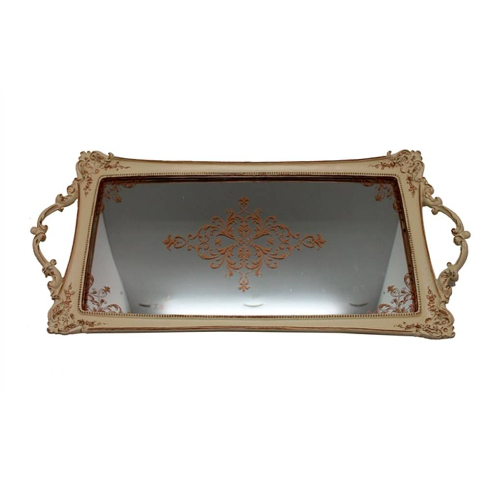 Bandeja Luxo Romantic Dourada em Resina c/ Base Espelhada - 50x24 cm