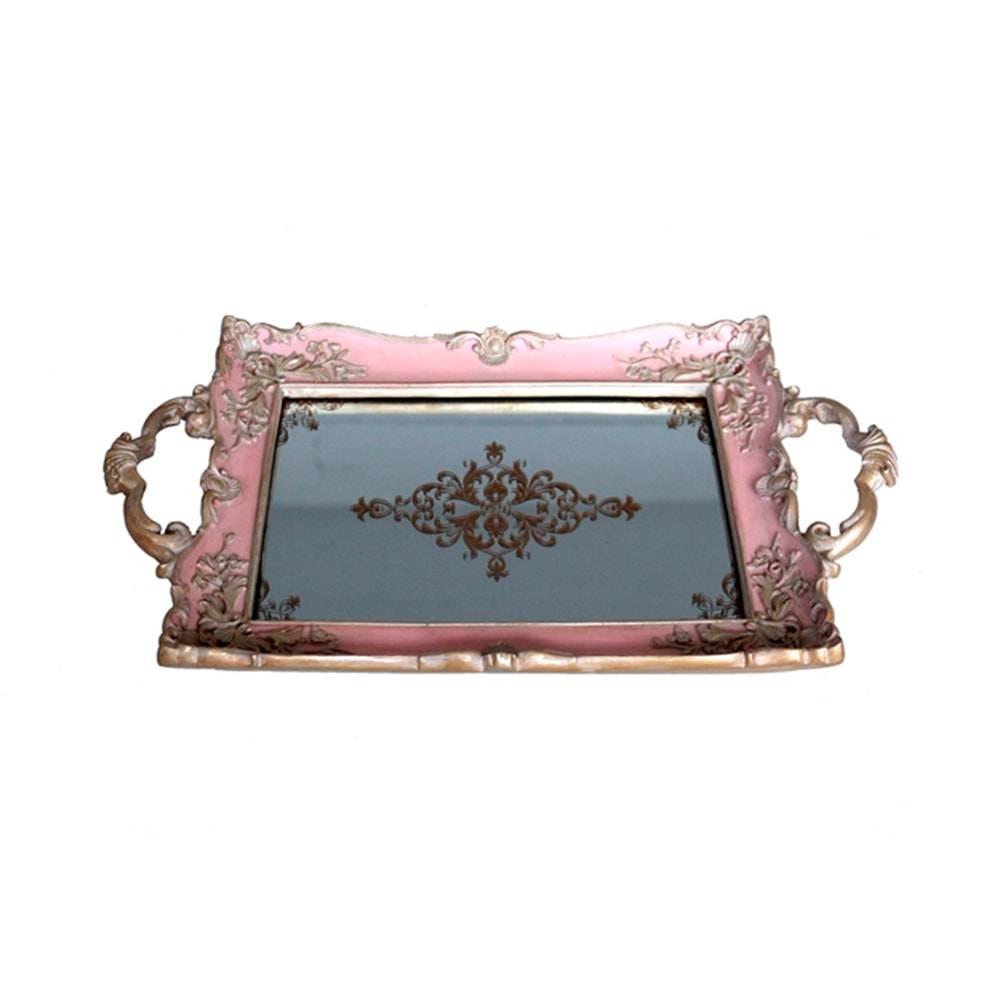 Bandeja Luxo Rosa/Dourada em Resina c/ Base Espelhada - 32x20 cm