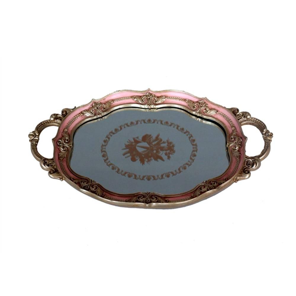 Bandeja Luxo Rosa/Dourado em Resina c/ Base Espelhada - 37x23 cm