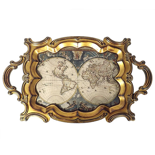 Bandeja Mapa Mundi Antique Oldway - Madeira e PVC - 72x44 cm