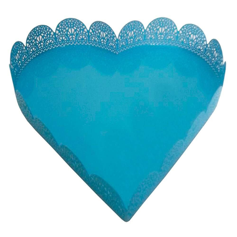 Bandeja Média de Coração Fancy Laces Azul em Metal - Urban - 22,5x22,5 cm