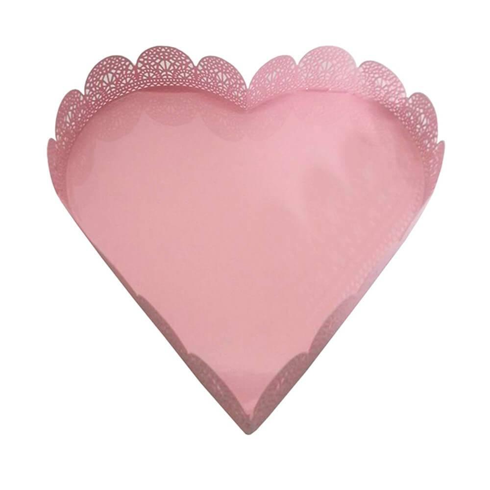 Bandeja Média de Coração Fancy Laces Rosa em Ferro - Urban - 22,5x22,5 cm