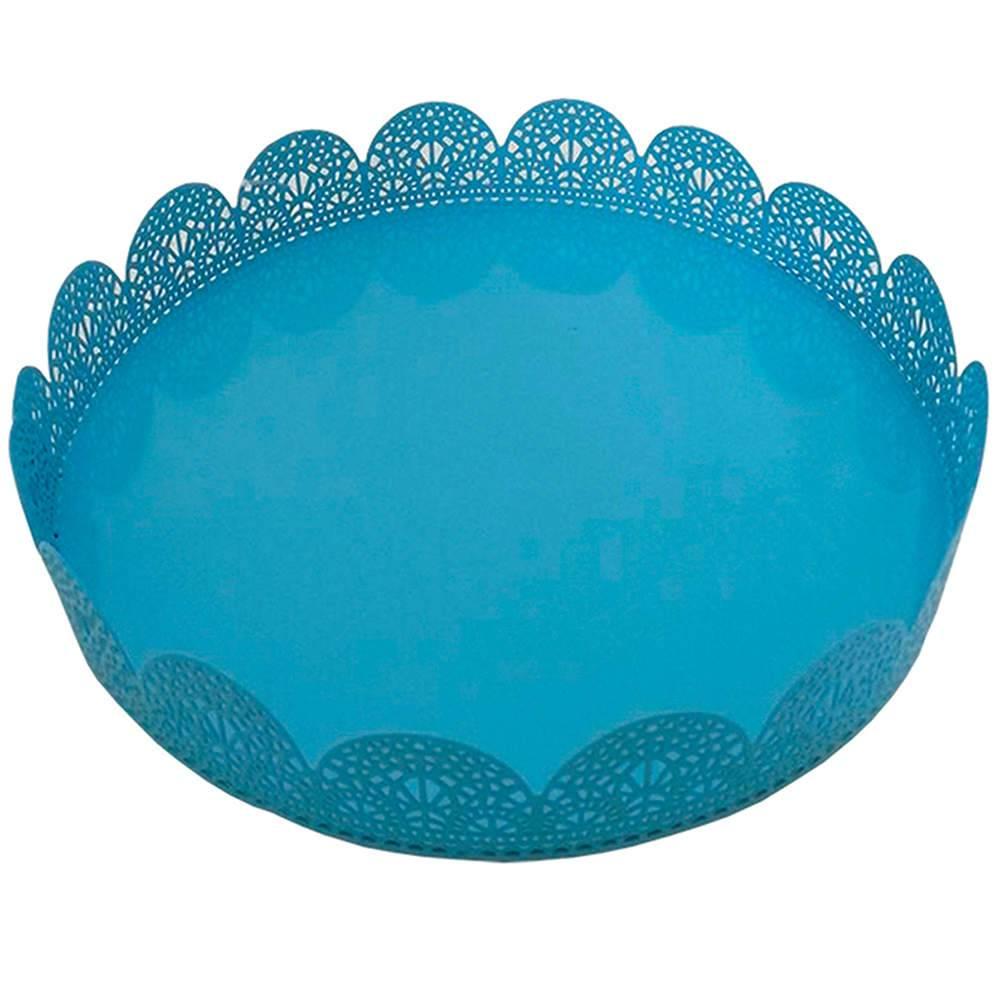 Bandeja Média Redonda Fancy Laces Azul em Ferro - Urban - 20,3x4,7 cm
