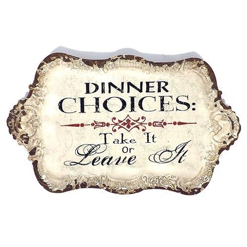 Bandeja Metálica Branca Dinner Choices Oldway - 46x27 cm