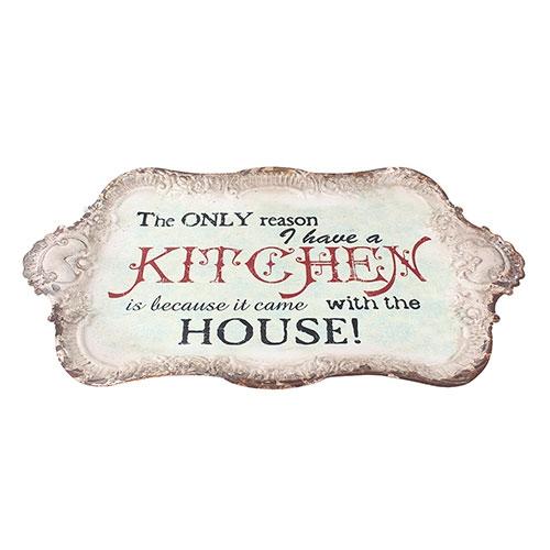 Bandeja Metálica Branca Kitchen Oldway - 46x27 cm