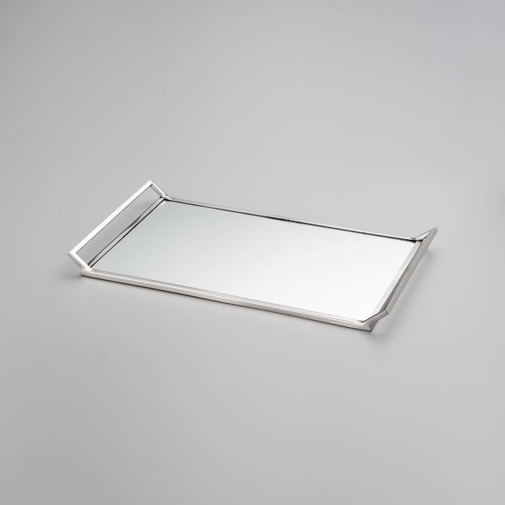 Bandeja Delhi Mirror Pequena com Fundo Espelhado - em Metal - Wolff - 27,5x10,5 cm