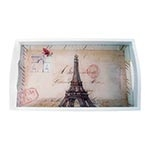 Bandeja Monumentos Paris Pequena em MDF e Fundo de Vidro - 32x20 cm