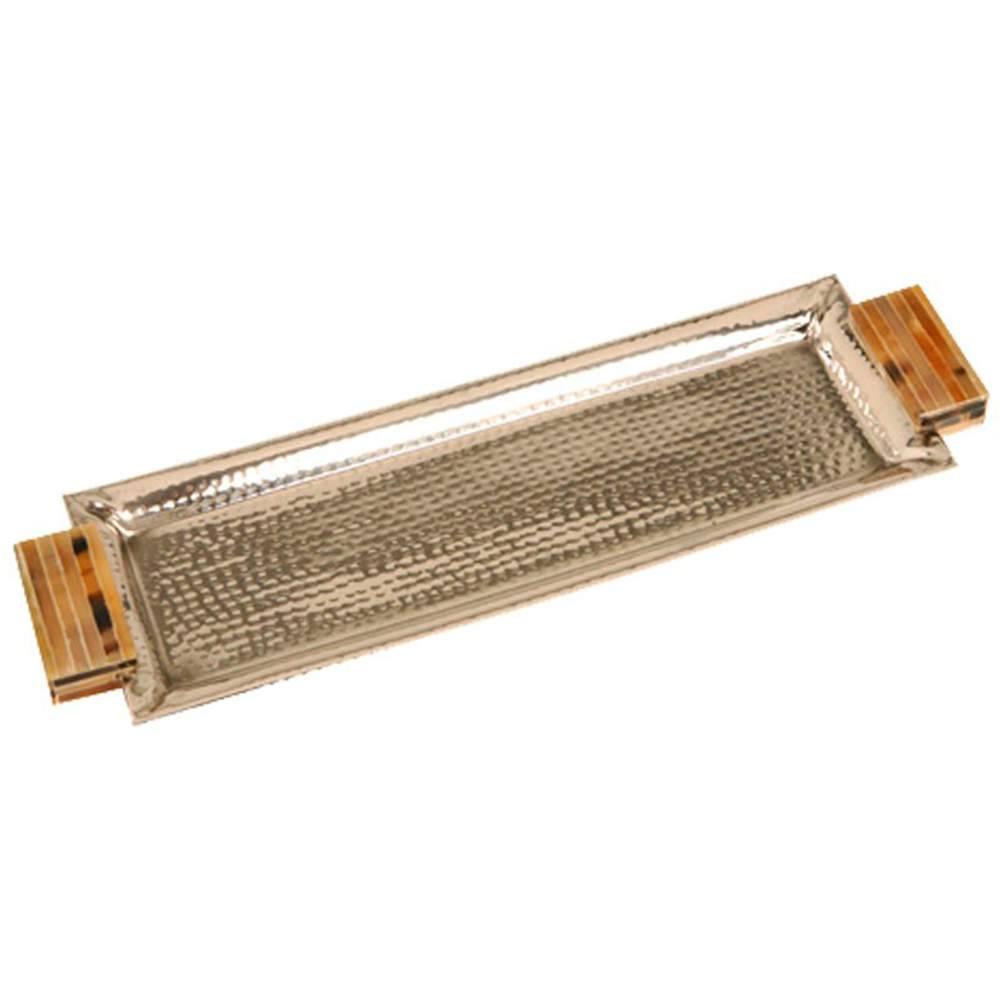 Bandeja Nilo Retangular Prata em Metal com Alças em Chifre - 47x14 cm