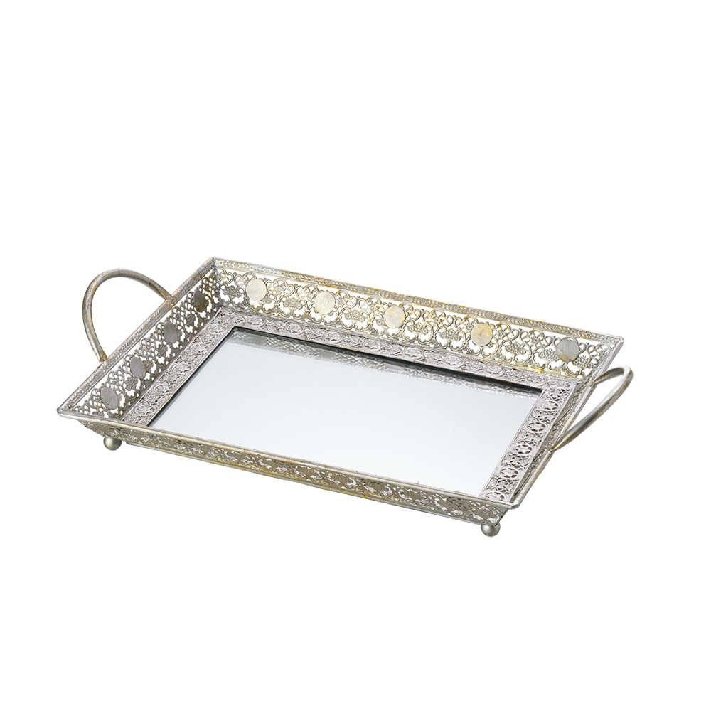 Bandeja Olívia em Ferro c/ Fundo Espelhado - Lyor Classic - 47x29 cm