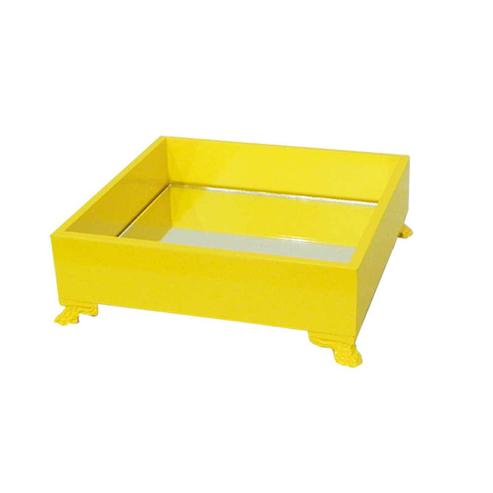 Bandeja Organizadora Espelhada Amarela em Madeira Laqueada - Média - 20x20 cm