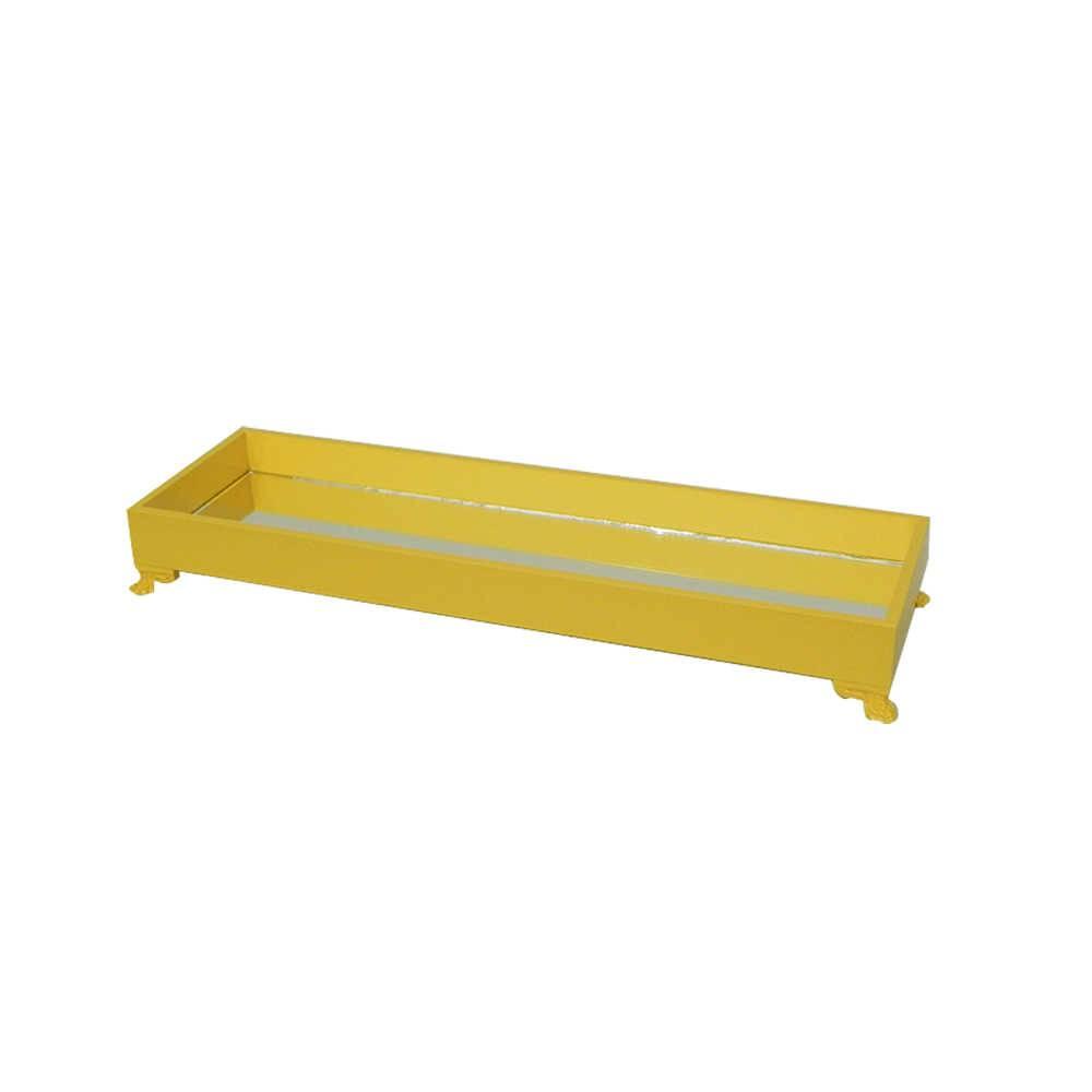 Bandeja Organizadora Espelhada Amarela Retangular em Madeira Laqueada - Pequena - 30,5x13cm
