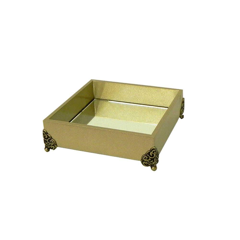 Bandeja Organizadora Espelhada Dourada em Madeira Laqueada - Média - 20x20 cm