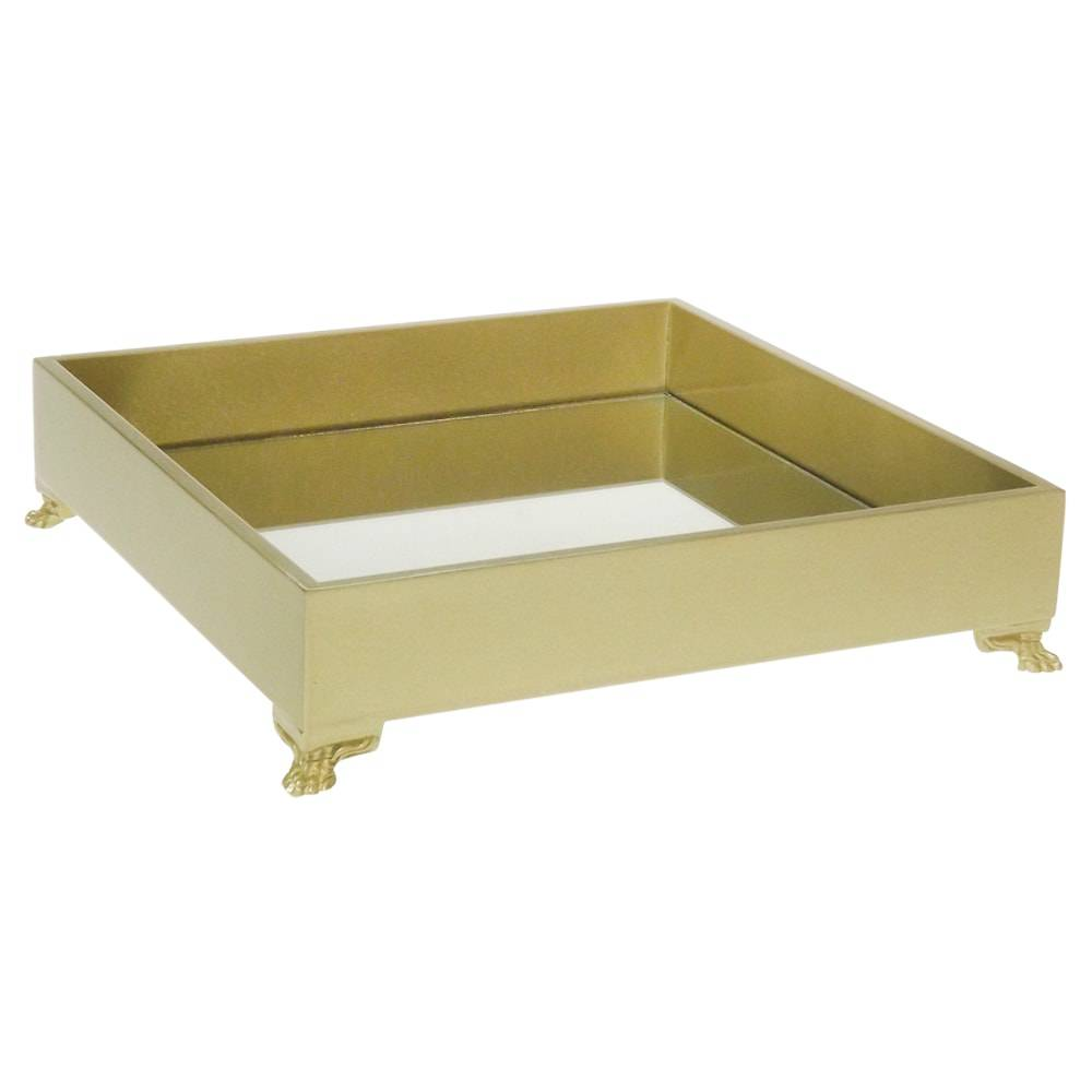 Bandeja Organizadora Espelhada Dourada em Madeira Laqueada com Pés - Grande - 25x25 cm