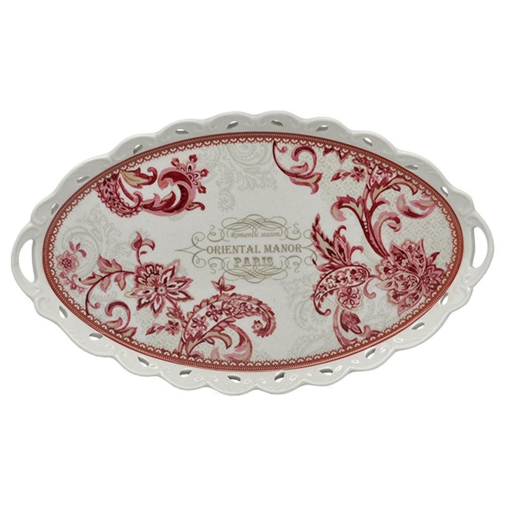 Bandeja Oriental Manor - Finecasa - Vermelho/Branco em Porcelana - 38x23 cm