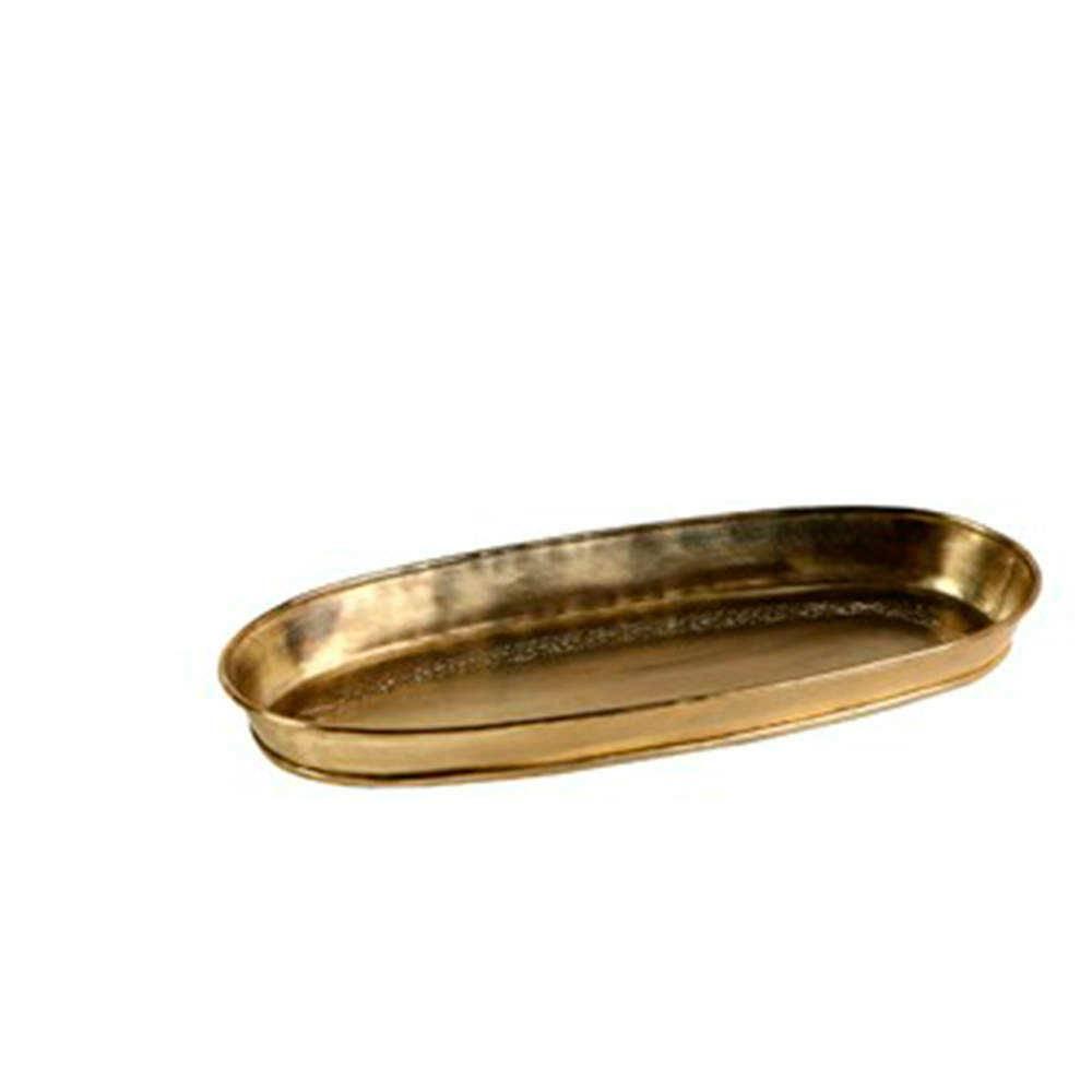 Bandeja Oval Dourada em Alpaca - Pequena - 32x15 cm