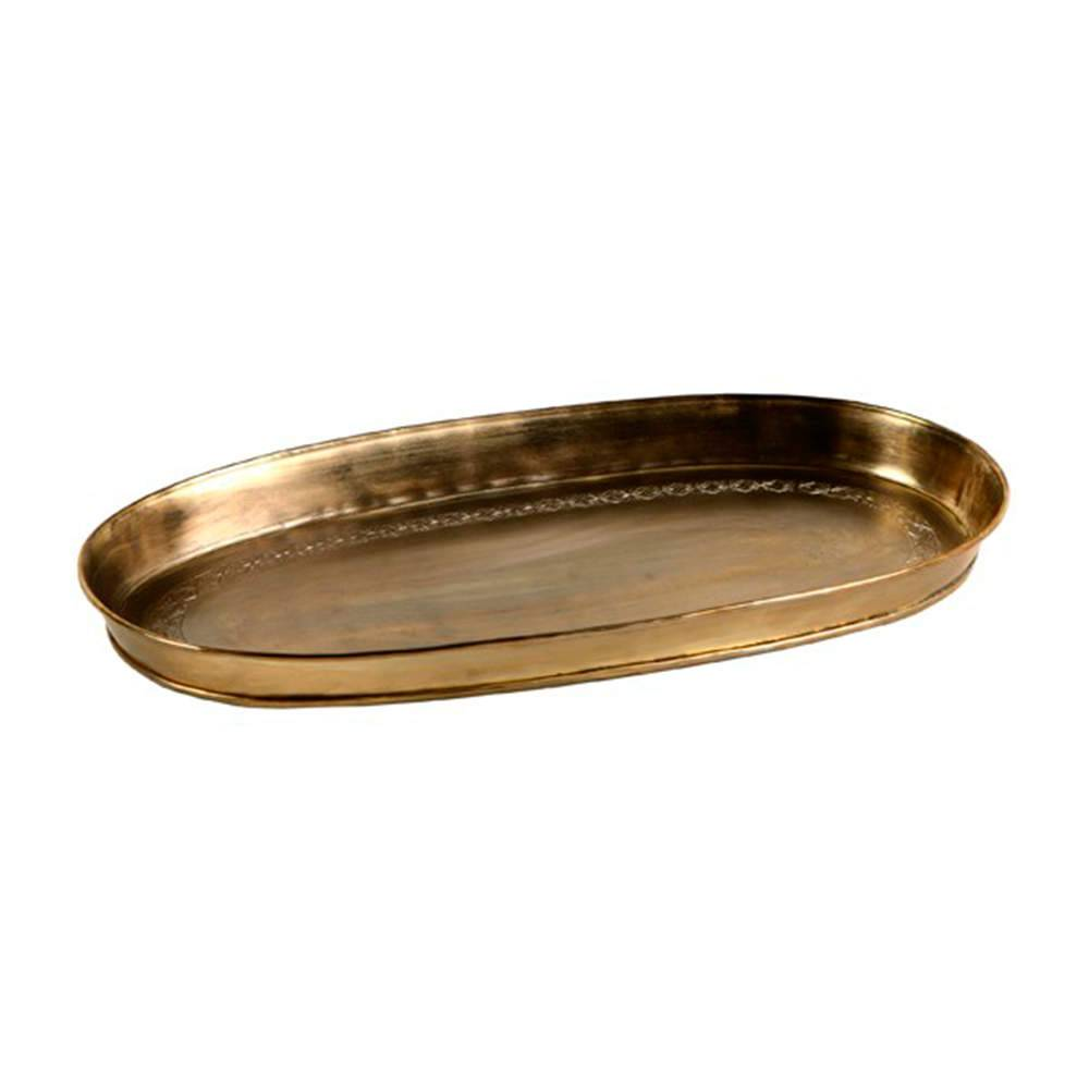 Bandeja Oval India Dourada em Metal Alpaca - 41x22 cm