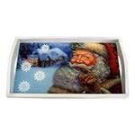 Bandeja Papai Noel Pequena em MDF e Fundo de Vidro - 32x20 cm