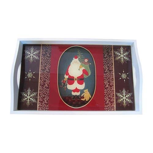 Bandeja Papai Noel e Presentes Média em MDF e Fundo de Vidro - 38x24 cm