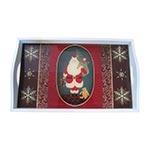 Bandeja Papai Noel e Presentes Pequena em MDF e Fundo de Vidro - 32x20 cm