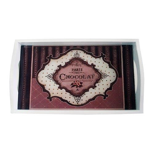 Bandeja Paris Chocolat Média em MDF e Fundo de Vidro - 38x24 cm