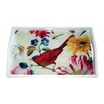 Bandeja Pássaro e Flores Coloridas Pequena em MDF e Fundo de Vidro - 32x20 cm