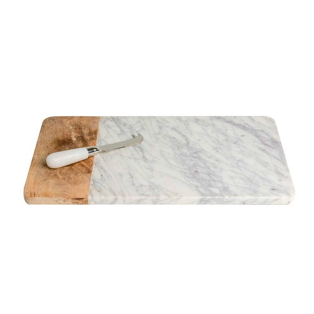 Bandeja de Pedra para Queijos com Detalhe de Madeira - 41x25 cm
