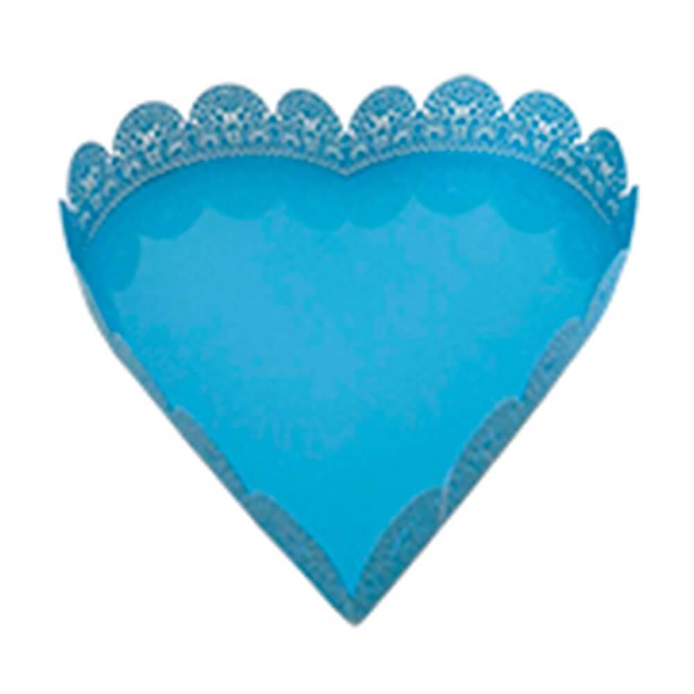 Bandeja Pequena de Coração Fancy Laces Azul em Ferro - Urban - 18,5x18 cm