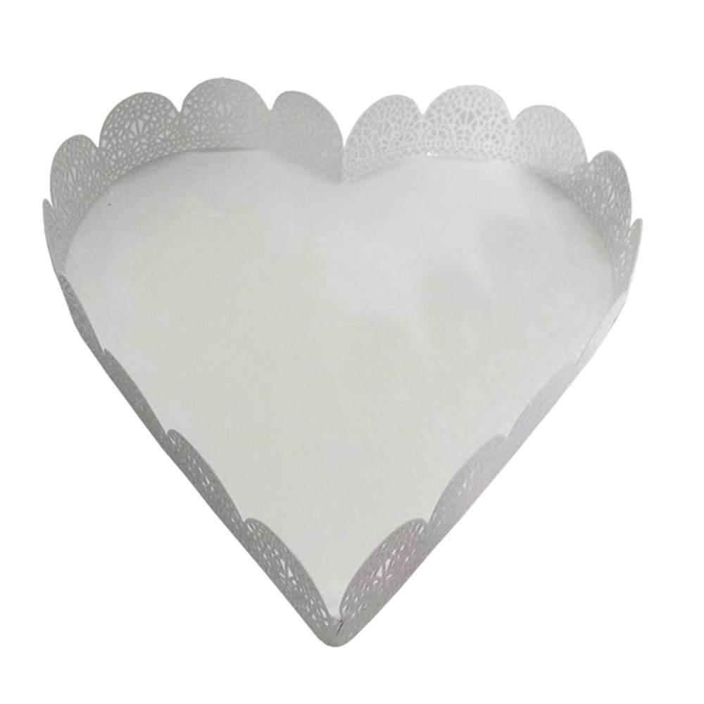 Bandeja Pequena de Coração Fancy Laces Branca em Ferro - Urban - 18,5x18 cm