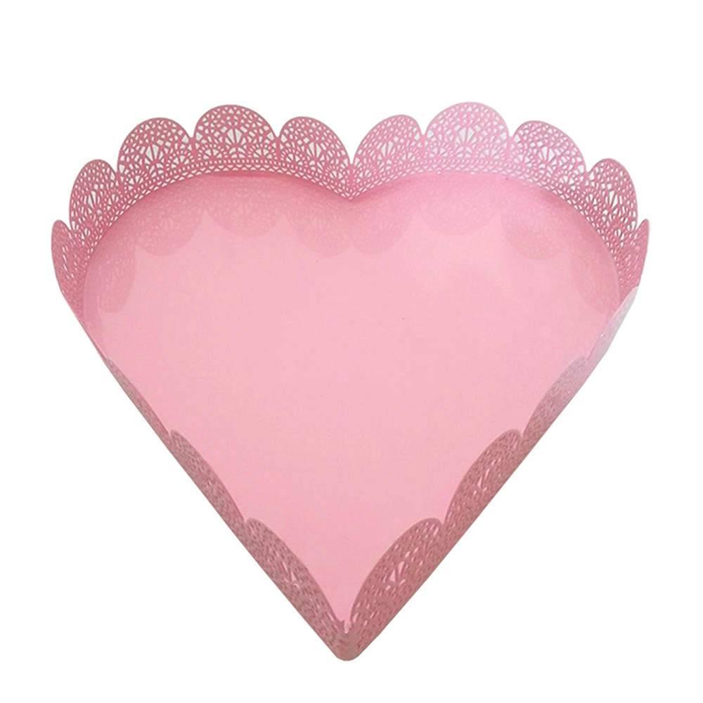 Bandeja Pequena de Coração Fancy Laces Rosa - Urban - 18,5x18 cm