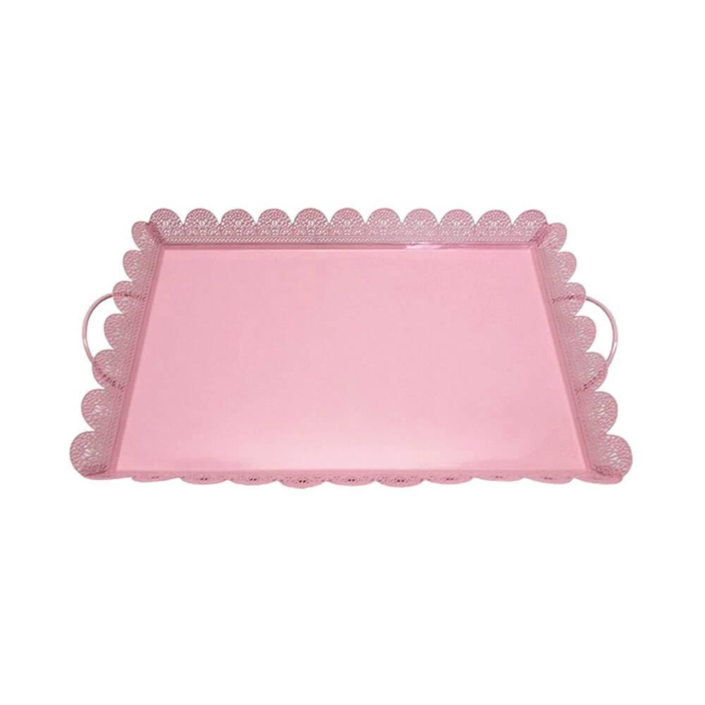 Bandeja Pequena Quadrada Fancy Laces Rosa em Ferro - Urban - 43,5x25,5 cm