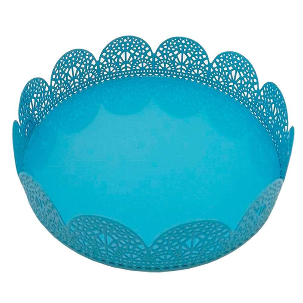 Bandeja Pequena Redonda Fancy Laces Azul em Ferro - Urban - 15,3x4,5 cm