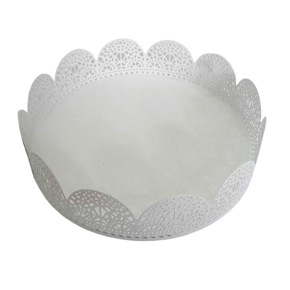 Bandeja Pequena Redonda Fancy Laces Branca em Ferro - Urban - 15,3x4,5 cm