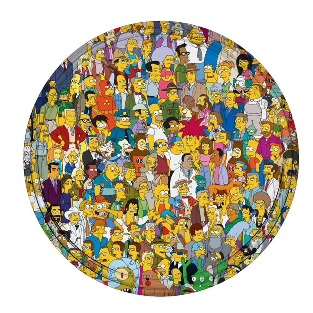 Bandeja População de Springfield - The Simpsons - em Metal - 30x2,5 cm