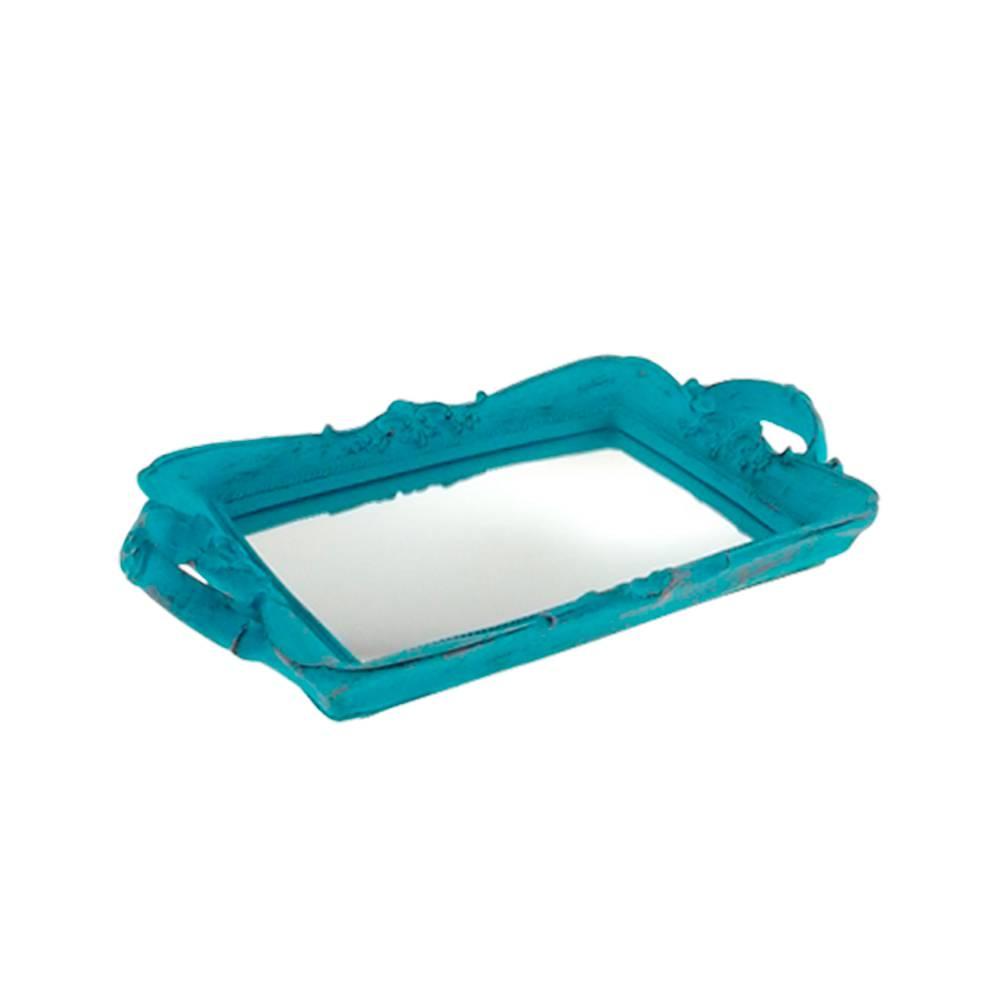 Bandeja Provençal Azul com Fundo Espelhado em Resina - 30x20 cm