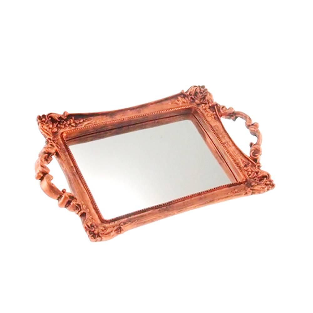 Bandeja Provençal Cobre com Fundo Espelhado em Resina - 30x20 cm