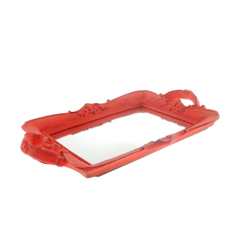 Bandeja Provençal Vermelha com Fundo Espelhado em Resina - 30x20 cm