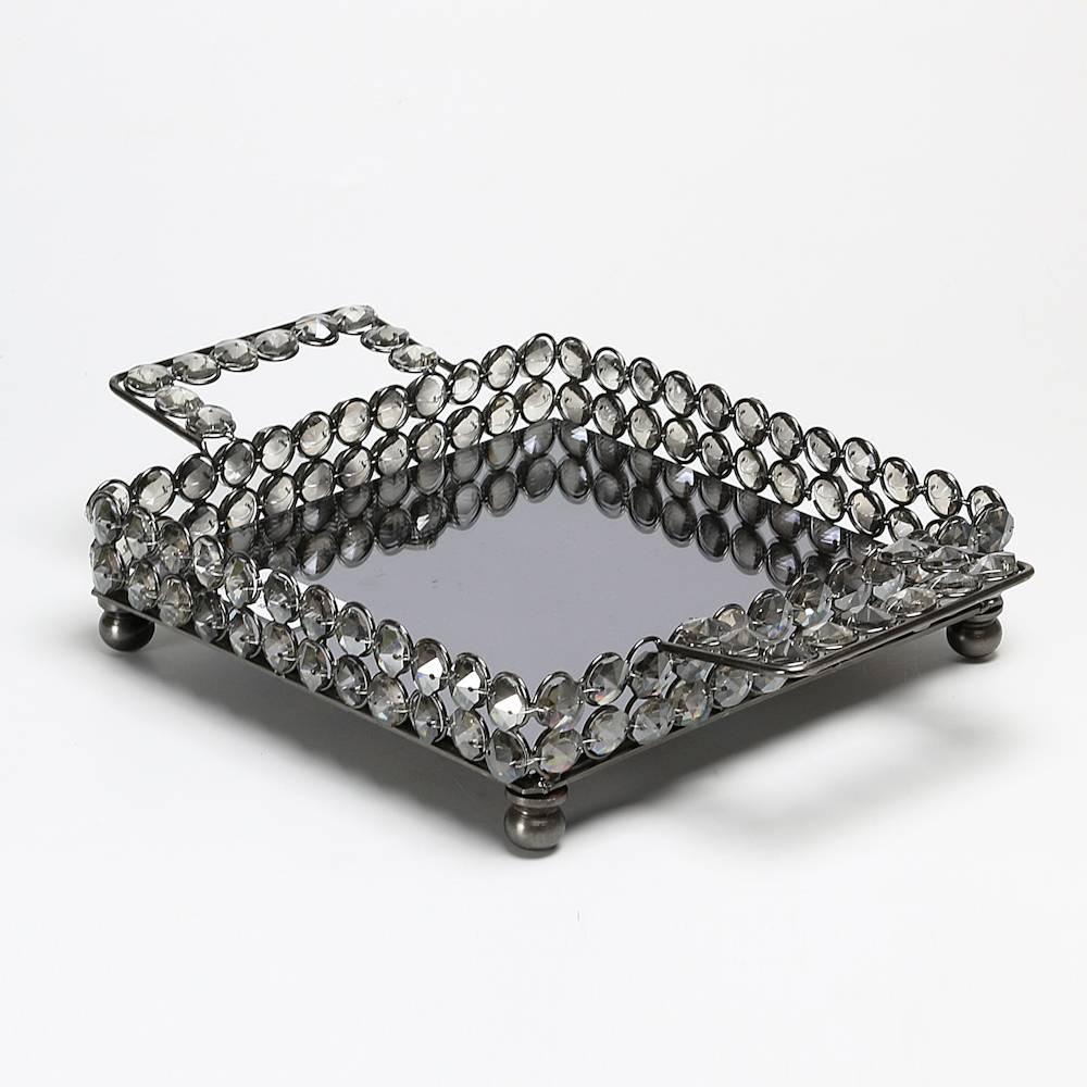 Bandeja Quadrada Fumê Delhi - com Fundo Espelhado - em Metal - Wolff - 30x20 cm