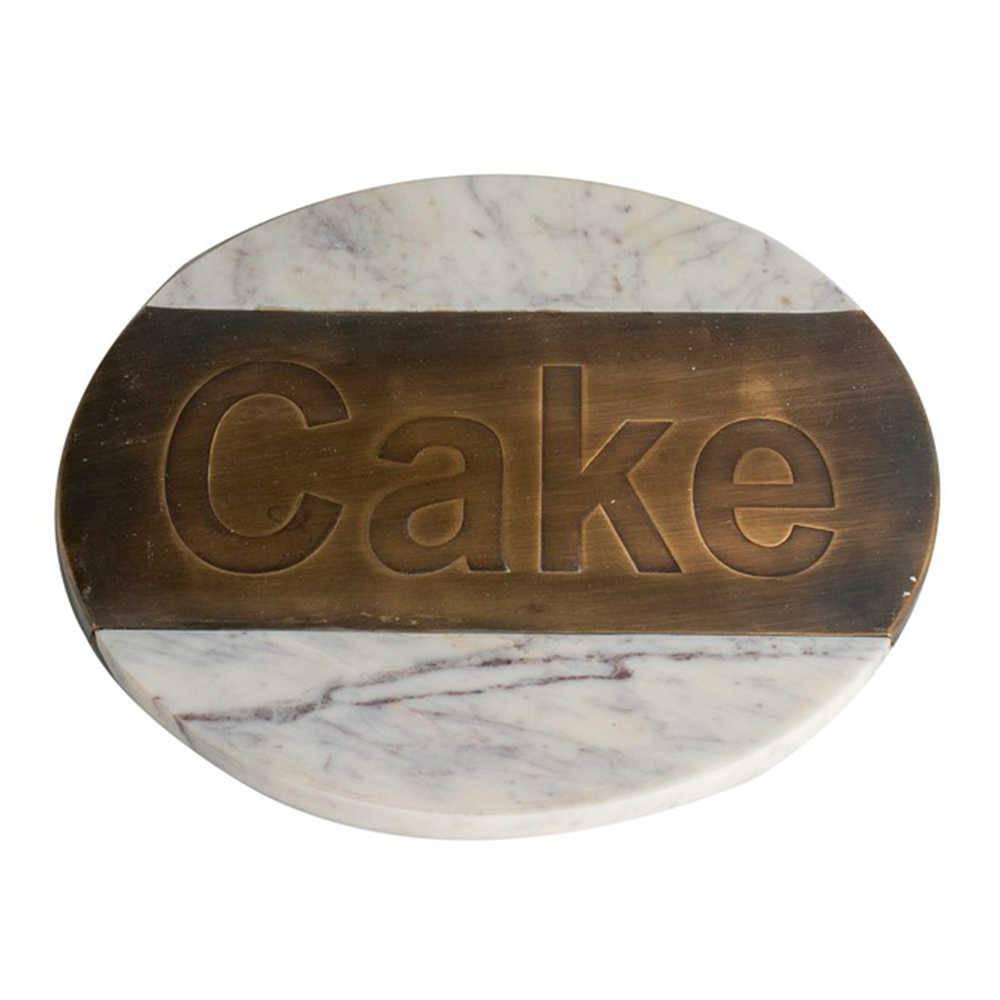 Bandeja para Queijo Cake Redonda em Pedra com Detalhe em Bronze - 30x30 cm