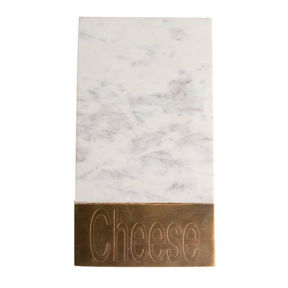 Bandeja para Queijo Cheese de Pedra com Detalhe em Bronze - 41x25 cm