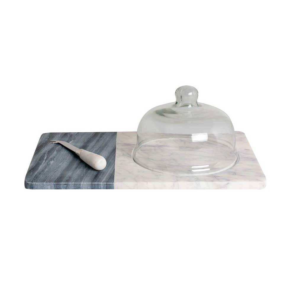 Bandeja para Queijos Cinza de Pedra com Faca e Redoma de Vidro - 41x25 cm