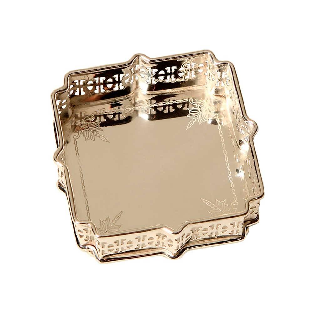 Bandeja Ramos Pequena em Metal Banhado a Prata - 12x12 cm