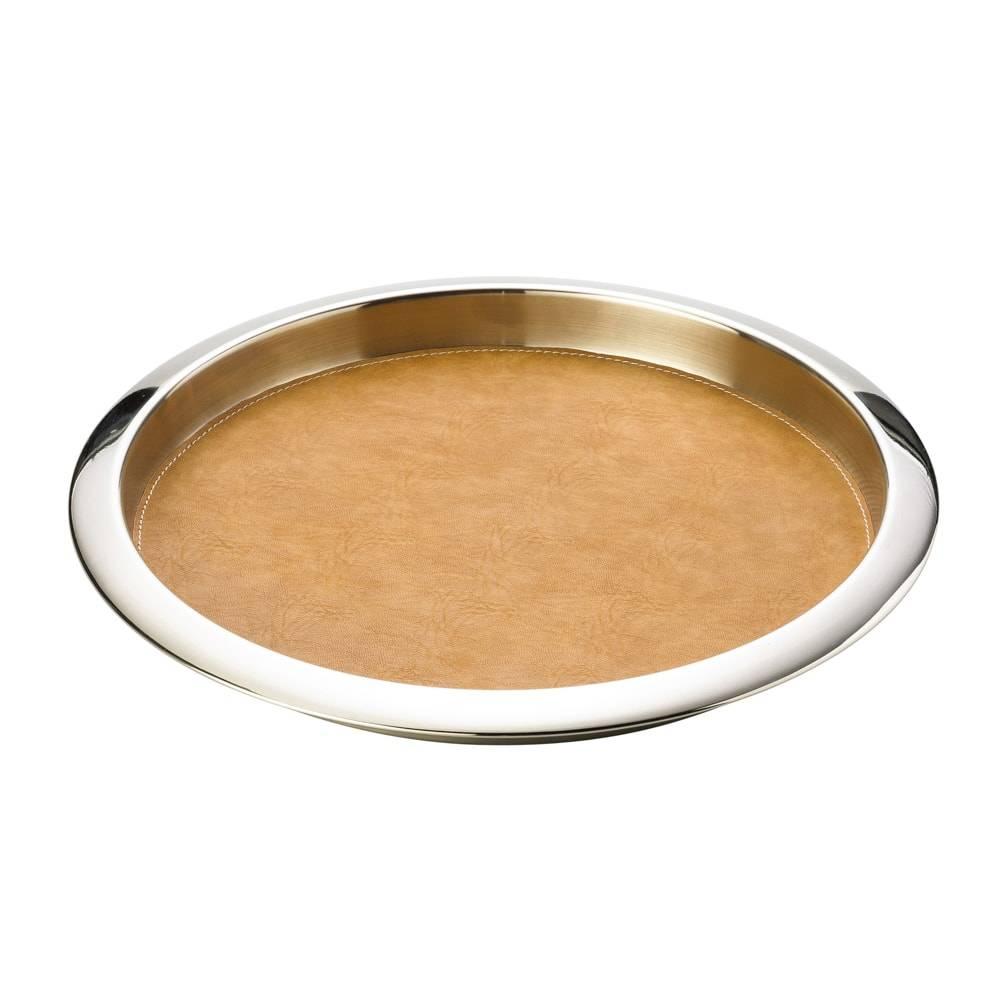 Bandeja Redonda em Aço Inox Forrada em Couro Caramelo - Lyor Classic - 39x5 cm