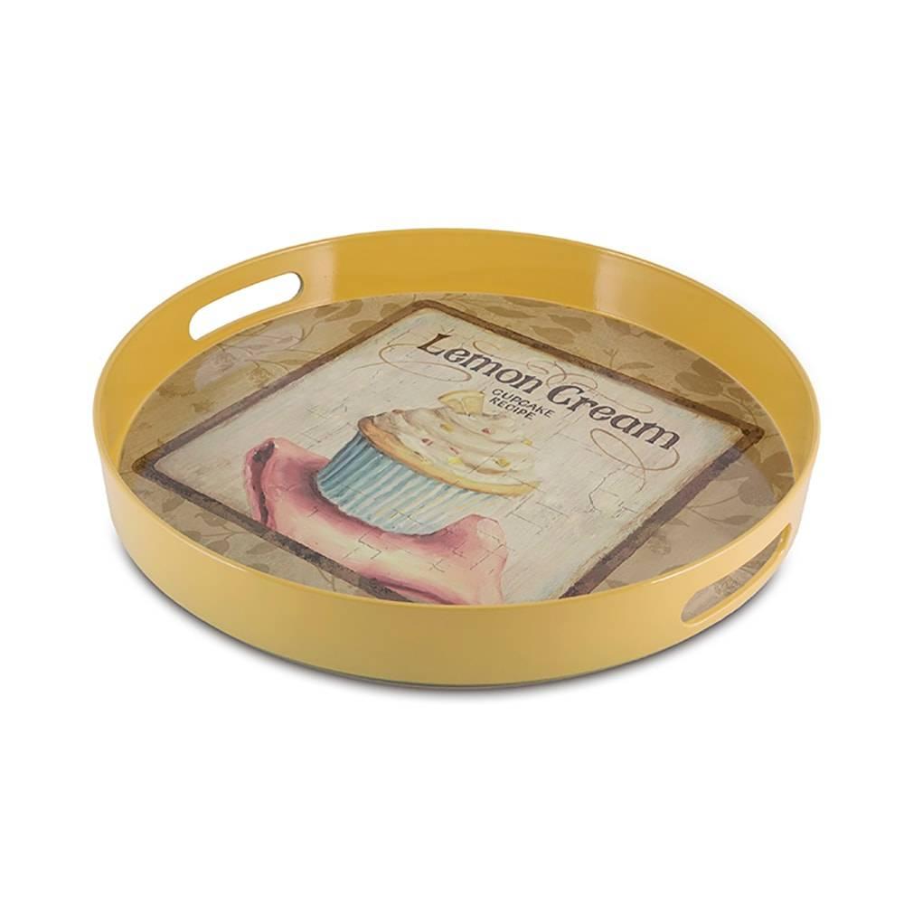 Bandeja Redonda Lemon Cream Amarela - 30x4,5 cm