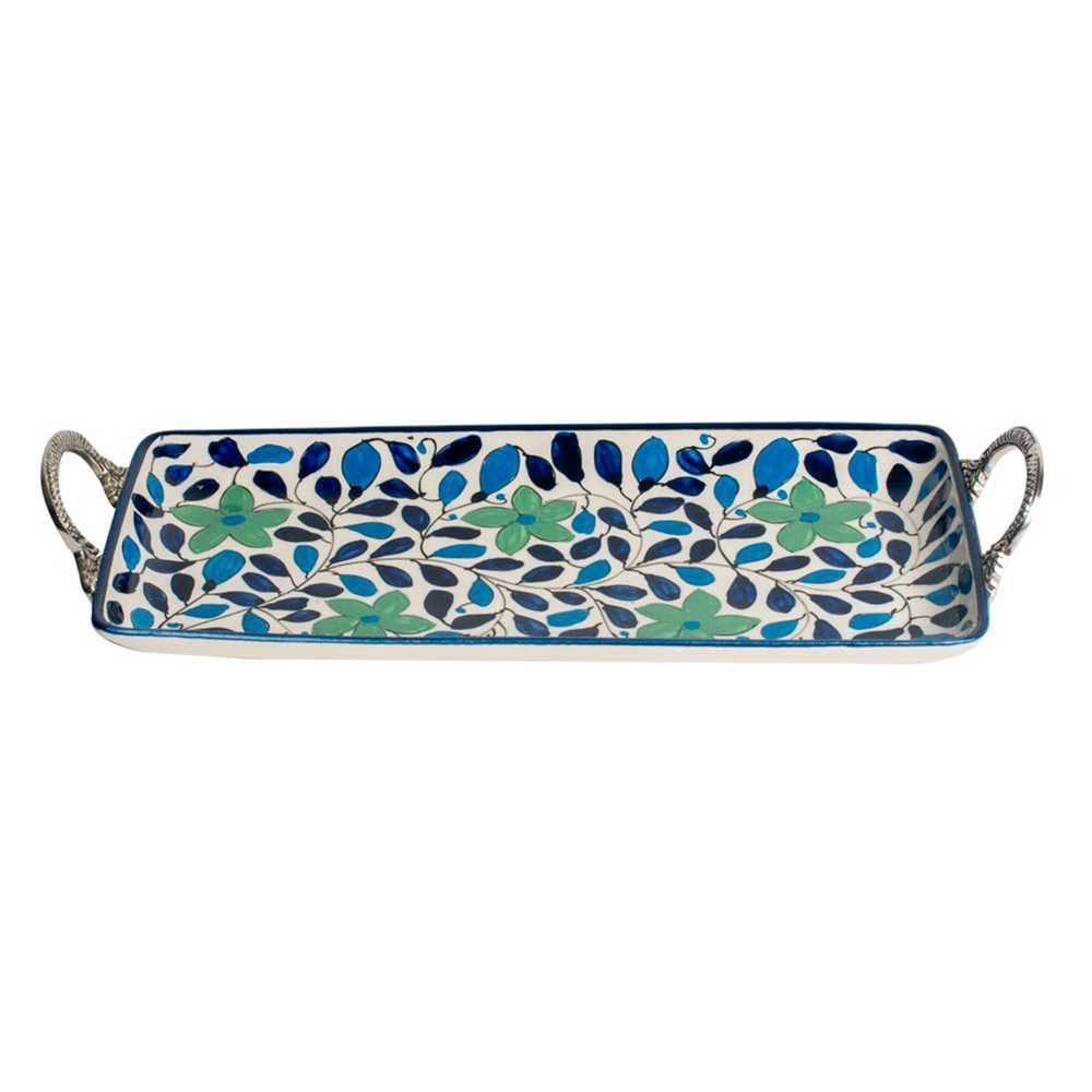 Bandeja Retangular Form Azul e Verde com Alças Pequena em Cerâmica - 35x16 cm