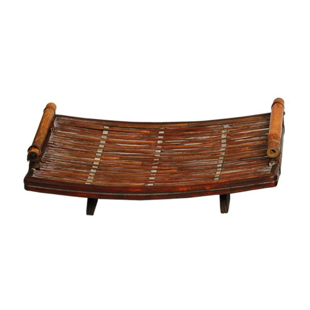 Bandeja Sloc Retangular com Alças Marrom em Bambu - 47x30 cm