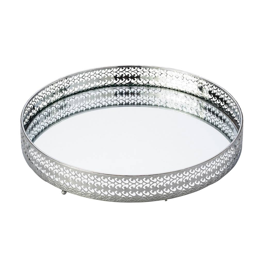 Bandeja Sorelle Redonda c/ Fundo Espelhado e Borda Vazada em Metal - Lyor Classic - 26x4 cm